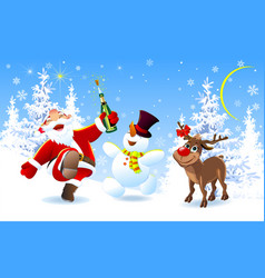 merry santa deer and snowman vector image