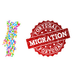 Migration collage mosaic map portugal and vector