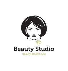 minimalistic beauty studio logo in black vector image