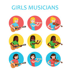 musicians girls is inspired to play different vector image