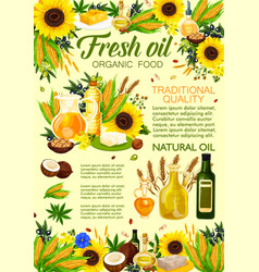 Natural oil vegetable and plant ingredients vector