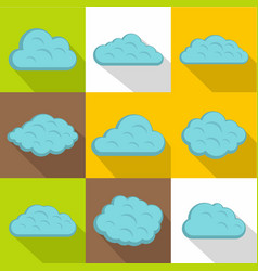 nature cloud icon set flat style vector image