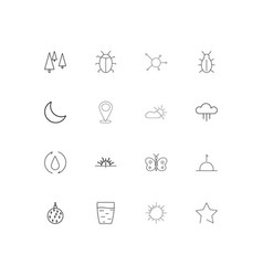 Nature linear thin icons set outlined simple icons vector