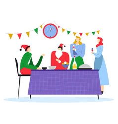 new year costume party and dinner with friends vector image