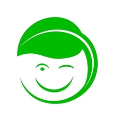 Organic smiley with green leaf icon simple style vector