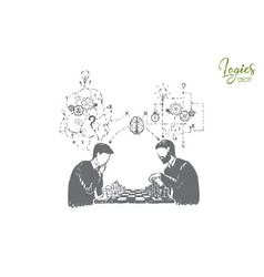 Participating in chess tournament playing board vector