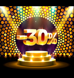 podium action with share discount percentage 30 vector image