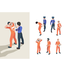 Police and prisoners isometric federal jail vector