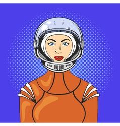 pop art beautiful young woman in astronaut helmet vector image