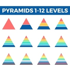 Pyramids triangles with 1 - 12 steps levels vector