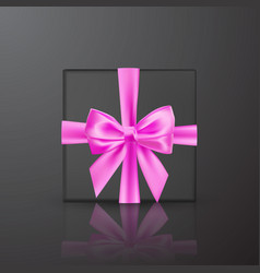 realistic black gift box with pink bow and ribbon vector image