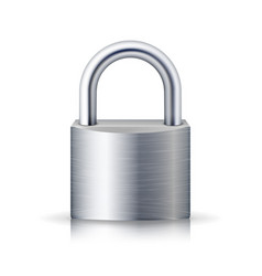 realistic closed padlock steel lock for vector image