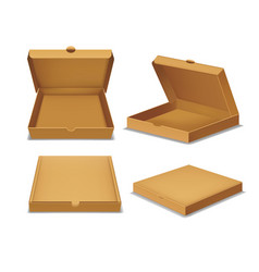 realistic detailed 3d pizza cardboard box set vector image