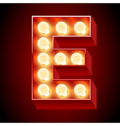 Realistic old lamp alphabet for light board vector image