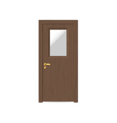 realistic wooden door isolated vector image