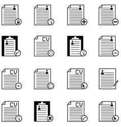 resume icon set vector image