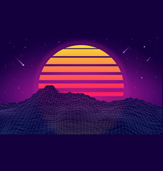 retro futuristic background with mountains vector image