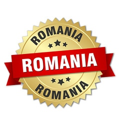 Romania round golden badge with red ribbon vector image