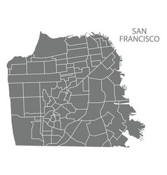 San francisco city map with neighbourhoods grey vector