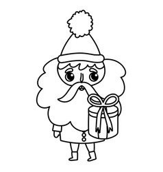 santa claus holding gift box merry christmas thick vector image