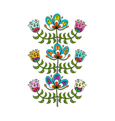 scandinavian folk style flowers for your design vector image