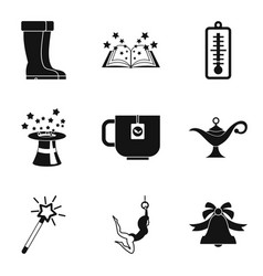 School break icons set simple style vector