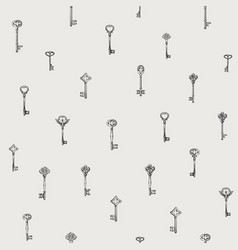 seamless pattern with hand drawn vintage keys vector image
