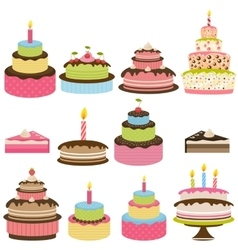 set colorful birthday cakes vector image