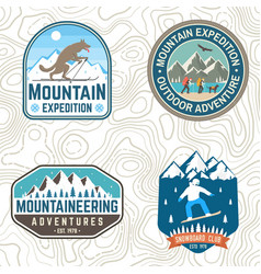 set mountain expedition and snowboard club vector image