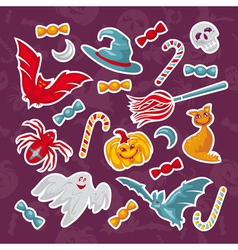 set of abstract halloween icons vector image
