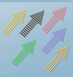 set of arrows from the shining colorful stones vector image