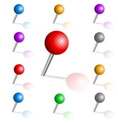 set of color pins vector image
