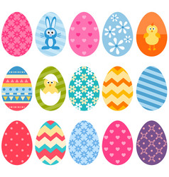 Set of fifteen colorful easter eggs icons vector