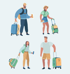 set of people traveling vector image