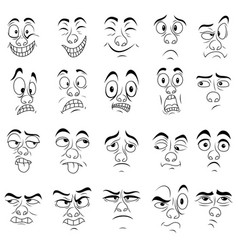Set twenty amusing male grimaces vector