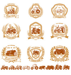 set vintage farmer emblems with tractors vector image
