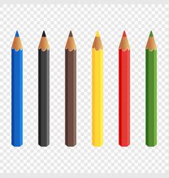 six colored pencils draw baby c pencils vector image