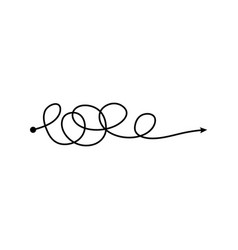 tangle arrow line in freehand scribble style vector image