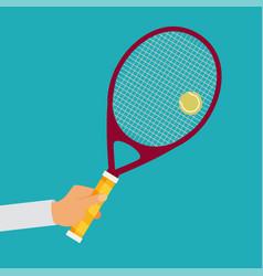 Tennis player racket hit ball vector