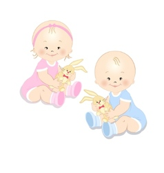 Toddlers with a toy vector image