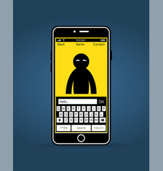 typing hello to contact by mobile phone vector image