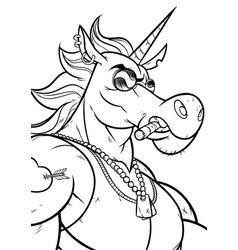 unicorn portrait line art vector image