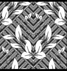 vintage floral greek key meanders seamless vector image