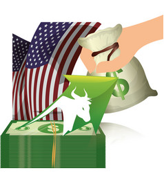 Wall street bull money finance usa vector