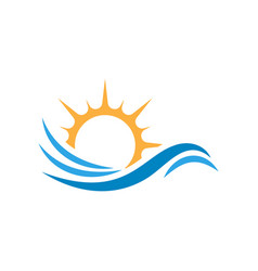 Water and sun icon graphic design template vector