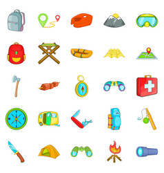 Wilderness icons set cartoon style vector