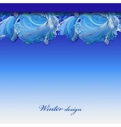 Winter frozen glass background Blue hoarfrost vector
