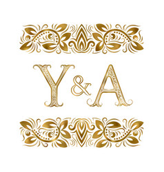 Y and a initials vintage logo letters vector