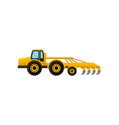 Yellow agricultural vehicle with plow large vector
