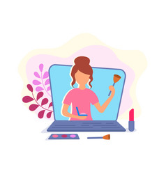 young girl beauty blogger presents cosmetics and vector image